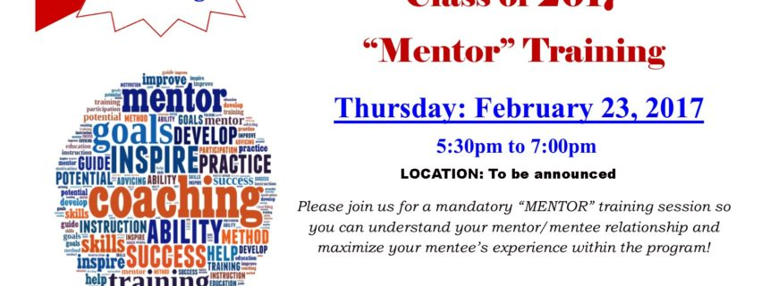 Save the Date! Mentor Program Workshop February 23, 2017